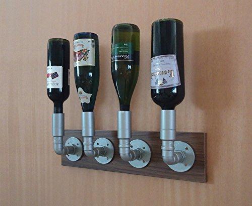 Adega Suporte Bar Porta Vinhos Garrafas Bebidas Suspenso Estilo Industrial Prata Laca