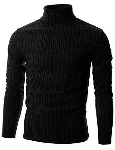 GIVON Mens Slim Fit Wide Ribbed Cotton Blend Turtleneck Pullover/DCP036-BLACK-XL by GIVON