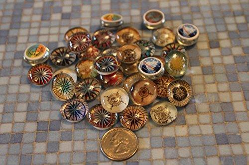 Geocache Mini Glass Trading Stones - 15 Pcs Compass ()