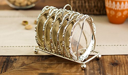 SMKF Collection 6-Piece Coaster Creative Drink Coasters With Decorative Rack Non-Slip Metal Cup Mats Tabletop Display With Holder for Bar,Home, Kitchen,Coffee Table Centerpieces Decoration (Silver)