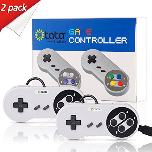 kiwitatá SNES USB Classic Controller Retro Game Gamepad for PC/Mac/ Game Emulators/Arcade(2 Pack New Color)