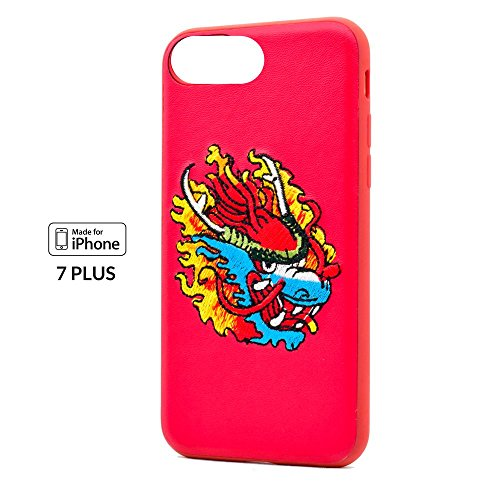 """Embroidered Stitched Leather x Tattoo Fashion - Protective Case/Cover/Bumper/Skin for iPhone 7 PLUS and iPhone 8 PLUS - 5.5"""" (Red Dragon) ()"""