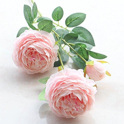Roossys 3頭 造花 室内装飾 花瓶用造花 ウェディング装飾用の造花 ローズ造花 牡丹ブーケ 結婚式 ピンク B07GJWV5MQ ピンク