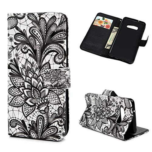 ZSTVIVA Case for Galaxy S10e Case, Wallet Case PU Leather Credit ID Card Kickstand Bumper Magnetic Flip Protective Skin Shell for Samsung Galaxy S10e - Black Lace Flower