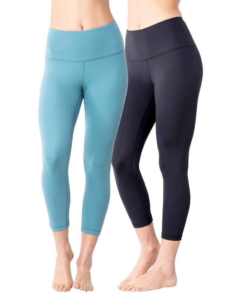 Yogalicious High Waist Ultra Soft Lightweight Capris - High Rise Yoga Pants - Black and Lagoon Breeze 2 Pack - XS