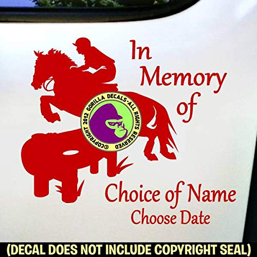 MEMORIAL CROSS COUNTRY Horse Rider ADD CUSTOM WORDS Vinyl Decal Sticker F