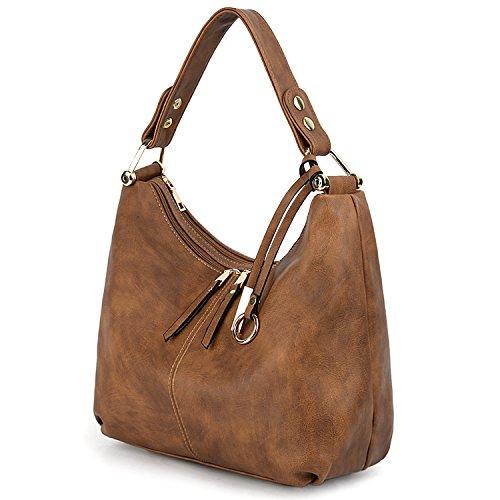 UTO Women Handbag PU Leather Purse Hobo Style Double Zipper Shoulder Bag Brown (Hobo Style Bag)