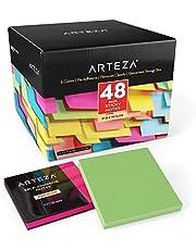ARTEZA Haftnotizen 76 x 76mm | 48 Blöcke, 100 Blatt pro Block | Großpackung mit Verschiedenen Farben | Mehrmaliges Umplatzieren und Saubere Entfernung | Für Erinnerungen, Büro, Schule und Zuhause