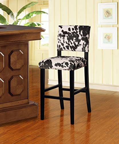 Clayton Cow Print Bar Stool in Black (Stools Bar Cow)