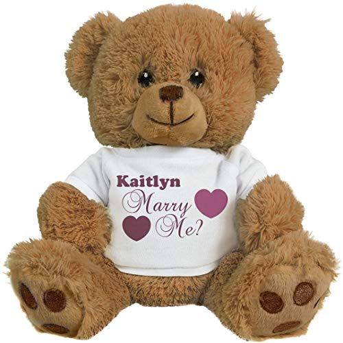 FUNNYSHIRTS.ORG Kaitlyn, Will You Marry Me?: 8 Inch Teddy Bear Stuffed Animal -  Printed by eRetailing, 210571No Size