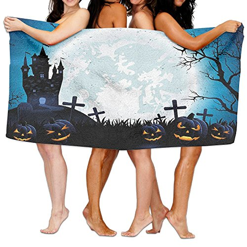 Wxf Halloween Spooky Concept With Halloween Icons Old Celtic Harvest Festival Figures In Dark Image Soft Lightweight Beach Towel Pool Towel 30x50