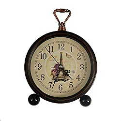 LauderHome 5 Vintage Retro Old Fashioned Decorative Silent Desk Alarm Clock Non Ticking Quartz Movement Battery Operated