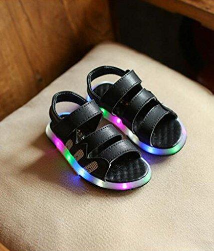 hibote Jungen LED Licht Sanddals Anti Slip Strand Baby Beleuchtung Sandale Schuhe Schwarz