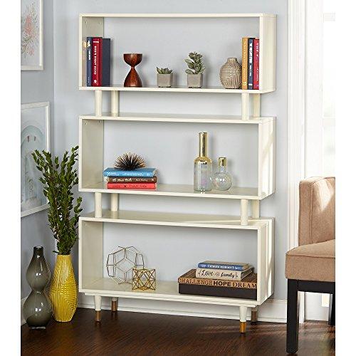 Simple Living Modern Margo Mid-Century 3-Shelf Bookshelf Antique White