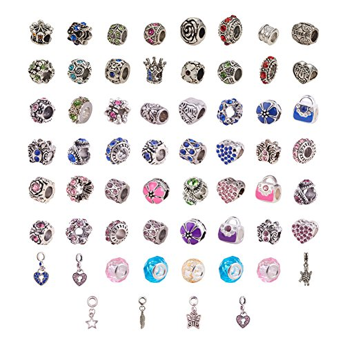 PandaHall Elite 60 Pcs Murano Glass Beads Rhinestone Spacers Metal European Beads Dangle Pendant Charms Fit Snake Style Charm Bracelet Mixed Colors ()