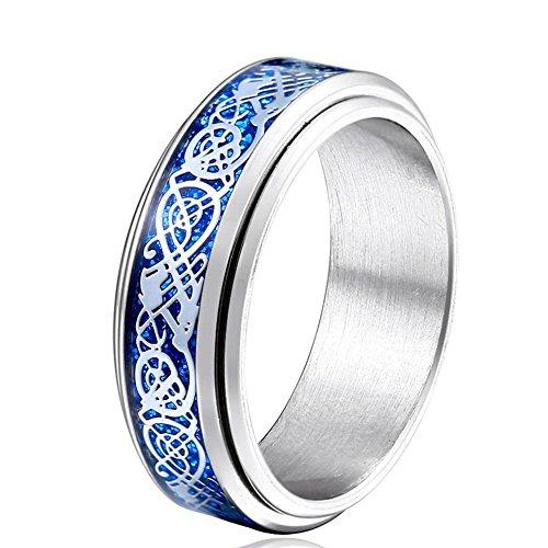 JAJAFOOK Men's 8mm Blue Carbon Fiber Silver Celtic Dragon Titanium Steel Spinner Ring Wedding Spins (Solid Silver Band Spin Ring)