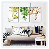 wall26 3 Piece Canvas Wall Art - Leaves and Fruits - Chinese Style Watercolor Painting - 24''x36''x3 Panels