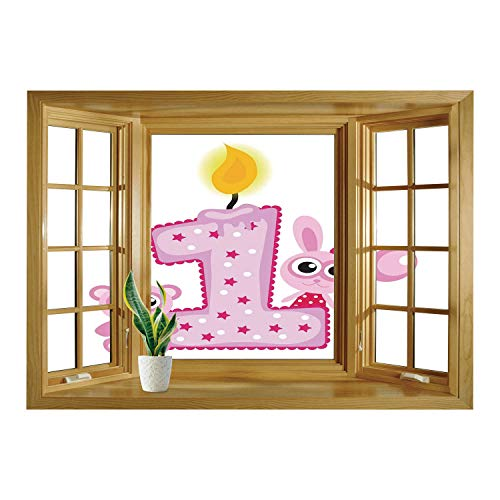 SCOCICI Wall Mural, Window Frame Mural/1st Birthday Decorations,Girls
