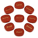 QGEM Red Jasper Good Words Oval Faith Stones,Best Wishes Gift for Crystals Healing Reiki