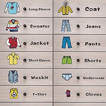 Cocobee Clothing Classification Wall Decals Clothes Labels Stickers Reflective Wall Stickers for Children Adults Bedroom Wardrobe Closet Decoration Classification Boys,Males