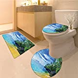 3 Piece Anti-slip mat setTropica Collection Cafe on Tropica Beach at Sunset Hote Restaurant Luxury Cliff Roman Non Slip Bathroom Rugs