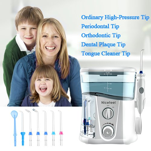 Nicefeel Water Flosser - Water Flossing Dental Oral Irrigator with 10 Pressures, Supports 150 Seconds Cleaning, Dental Flosser with 7 Tips for Family by Nicefeel (Image #5)