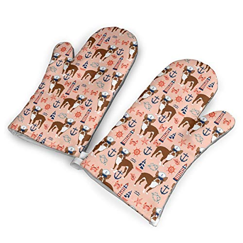 (DRAMA QUEEN Oven Mitts Set Boston Terrier Nautical Summer Anchors Advanced Heat Resistant Microwave Non-Slip Oven Mitts for Cooking Baking)