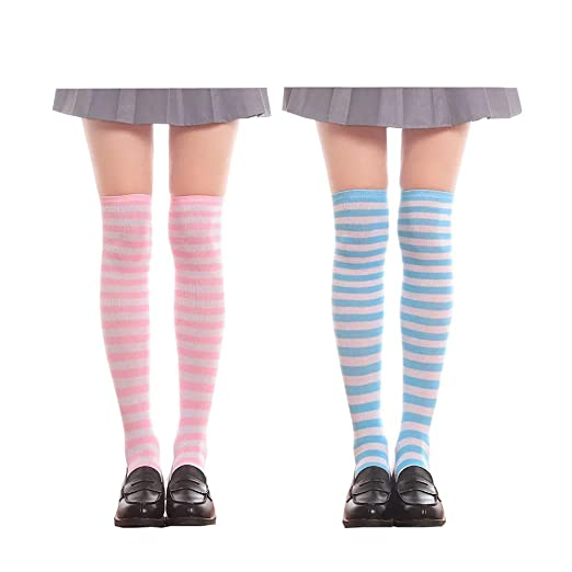 faf4047fc Cute Japanese Style Blue Pink Stripe Over Knee High Socks Thigh Long Knee  Boot Stockings