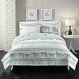 Loft Style Boho Elephant Ultra Soft Microfiber Comforter Set, Full, Light Blue