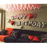 "16"" Happy Birthday Alphabet Letters Balloons Foil Balloons Mylar Balloons Party Decoration Balloons, Silver"