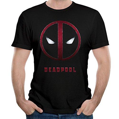 MARY Men's Deadpool Movie Trailer Mask Logo T-shirt Black XL