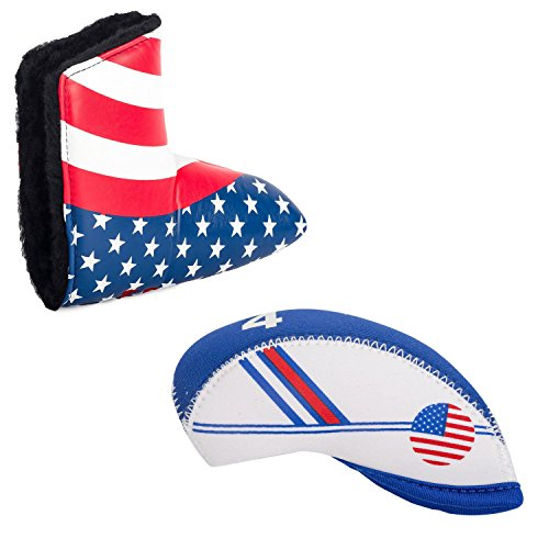 HIFROM Golf Putter Head Covers for All Brands Blade & White Blue US Flag Neoprene Golf Head Cover for Titleist, Callaway, Ping, Taylormade, Cobra, Nike, etc