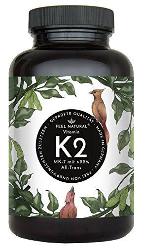 Vitamin K2 MK7-365 Kapseln. Hochdosiert mit 200µg (mcg) je Kapsel. >99% All-Trans, aus Fermentation. Laborgeprüft, ohne Zusätze wie Magnesiumstearat. Vegan, hergestellt in Deutschland