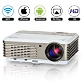 Home Wifi Movie Projector 2600 Lumen LED Multimedia Outdoor Home Theater Projector Smart Wifi Wireless Android Beamer Proyector with HDMI USB VGA AV TV Audio Out for Computer Roku XBOX Mac iPhone iPad