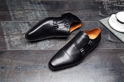 Zapatos Masculina de Lujo Hombres de Punta de de Color Black Hebilla Doble Cuero Ruanyi Oxford Estrecha Zapatos EU Size la los 41 Black Vestir Genuina con de la para Boda qwxaIA7