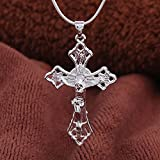 Sumanee Fashion Unisex 925 Silver Jesus Hollow Cross Pendant Necklace Wedding Jewelry