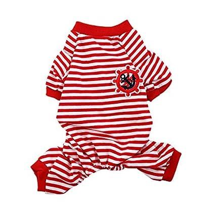 Padrão DealMux Anchor leme Bordado Pet Puppy Dog Stripe Dormir Vestidos Roupa Pijama Jumpsuit Tamanho S