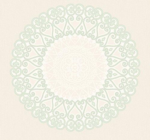 (Ronald Redding by York Wallcoverings EK4207 18 Karat II Grand Medallion Wallpaper; Metallic Silver, Cream, Beige, Aquama )