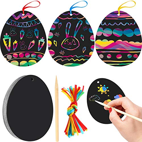 Yaomiao 24 Pieces Easter Egg Scratch Art for Easter Birthday Party Decoration with Scratch Tool and Colorful Ribbon -