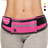 Waist Pack Best Running Belt Fanny Pouch Waistband Case Holds All Cell Phones Sports Fitness Holder Bag for Women Jog girl Runners With Water Resistant Reflective Zipper Pocket All Waist Sizes (Pink)