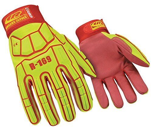 Impact Gloves, Synthetic Leather Palm Material, High Visibility Green - 1 Each by Ringers ()