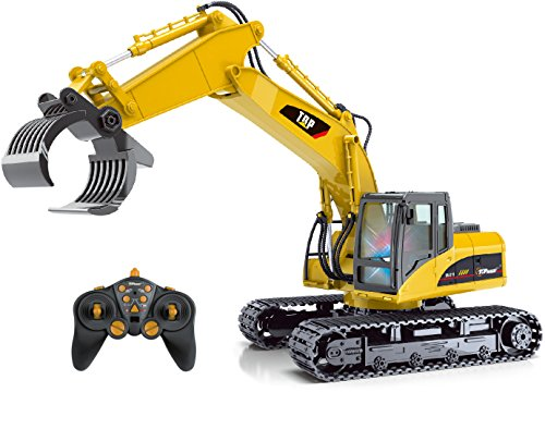 Top Race 15 Channel Full Functional Remote Control Truck RC Fork Excavator Construction Toy Grapple Fork Tractor with Metal Fork - TR-215