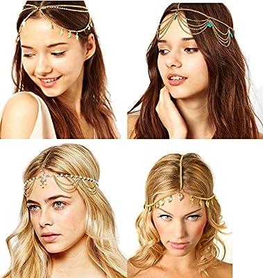 4 Pcs Gold Head Chain Gypsy Jewelry Bollywood
