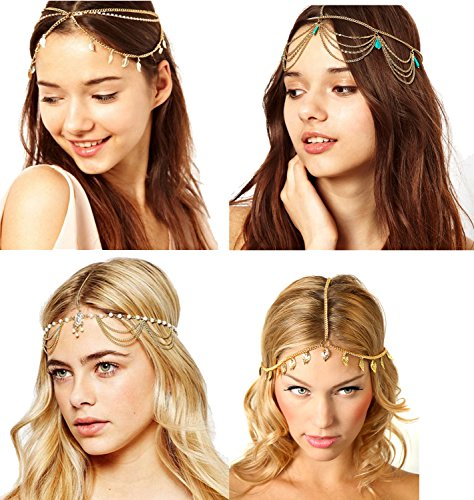 4 Pcs Gold Head Chain Gypsy Jewelry Bollywood Jewelry Head pieces for Women Gold Headpiece Arabian (A)