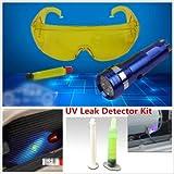 Leoie UV Leak Detector A/C Fluid Gas Detection Kit with LED Flash Light Safety Glasses Repair Tool