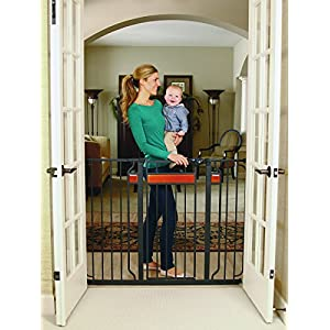 Regalo Home Accents Extra Tall and Wide Baby Gate, Bonus Kit, Includes Décor Hardwood, 4-Inch Extension Kit, 4-Inch Extension Kit, 4 Pack Pressure Mount Kit and 4 Pack Wall Cups and Mounting Kit