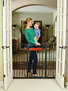 Regalo Home Accents Extra Tall and Wide Walk Thru Baby Gate, Includes Décor Hardwood, 6-Inch Extension Kit, 4-Inch Extension Kit, 4 Pack of Pressure Mount Kit and 4 Pack of Wall Mount Kit