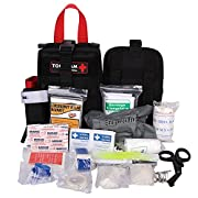 IFAK Trauma First Aid Kit, Rip Away Molle Med Pouch, Fully Stocked Small Tactical Medical Bag with Tourniquet for…