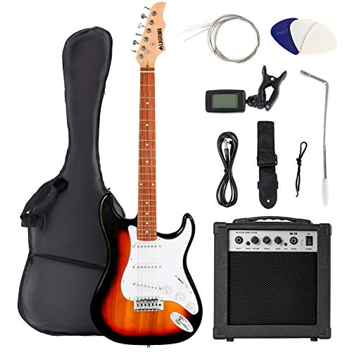 LAGRIMA 39 Inch Full Size Electric Guitar Starter Kit with Digital Tuner, Strings, Picks, Tremolo Bar, Shoulder Strap, and Case Bag(39, Sunburst)