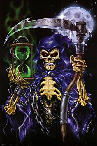 Time Keeper Grim Reaper Art Poster Print 24 x 36in with Poster Hanger
